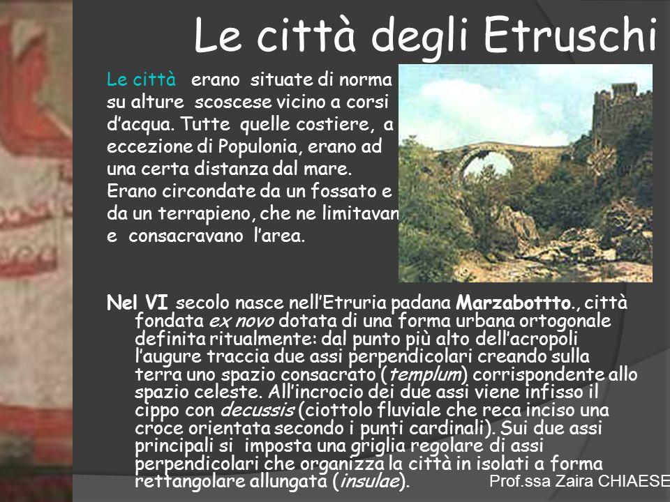 Prof.ssa Zaira CHIAESE Le città degli Etruschi Le città erano situate di norma su alture scoscese vicino a corsi d'acqua. Tutte quelle costiere, a ecc