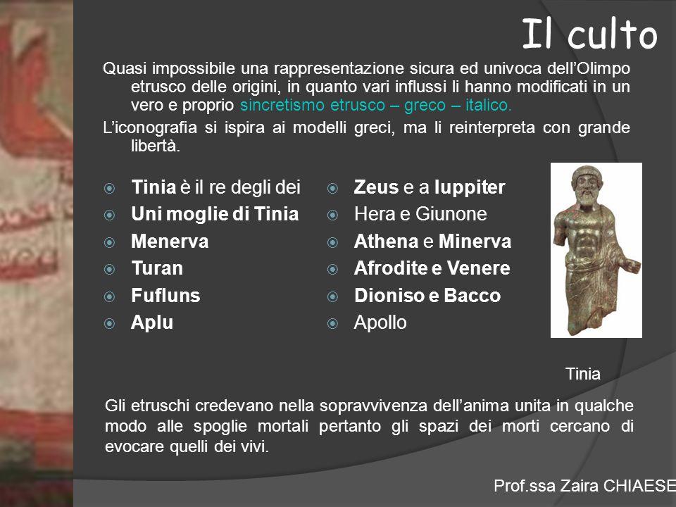 Prof.ssa Zaira CHIAESE Il culto Quasi impossibile una rappresentazione sicura ed univoca dell'Olimpo etrusco delle origini, in quanto vari influssi li hanno modificati in un vero e proprio sincretismo etrusco – greco – italico.