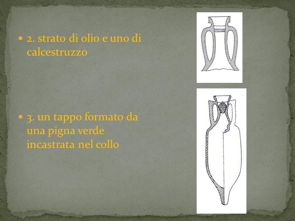 2. strato di olio e uno di calcestruzzo 3. un tappo formato da una pigna verde incastrata nel collo