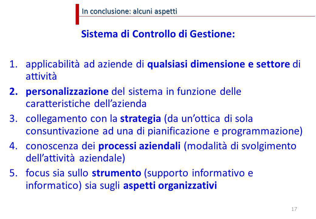 17 In conclusione: alcuni aspetti Sistema di Controllo di Gestione: 1.applicabilità ad aziende di qualsiasi dimensione e settore di attività 2.persona