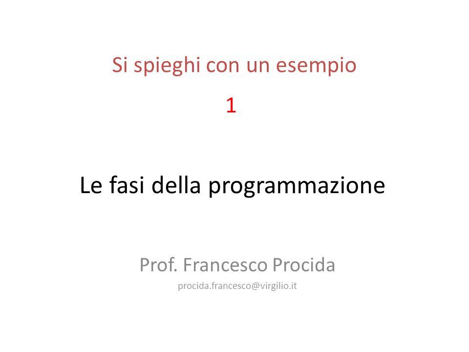 Le fasi della programmazione Prof.
