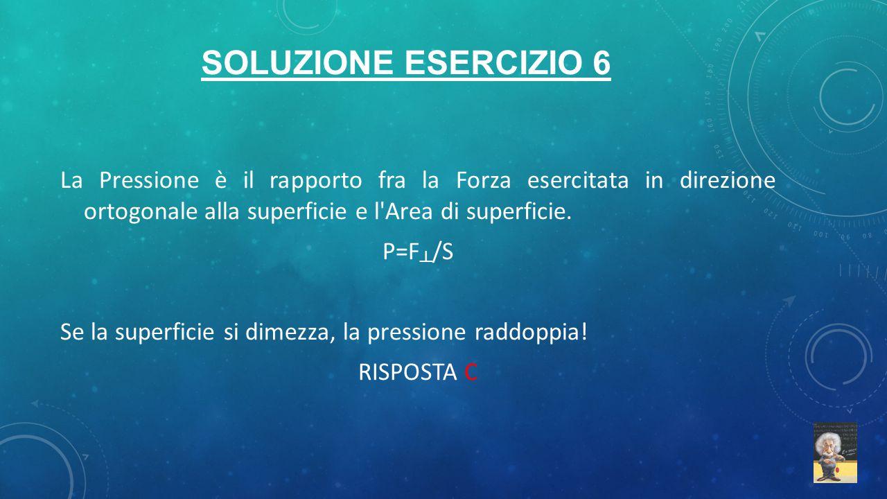 SOLUZIONE ESERCIZIO 6 La Pressione è il rapporto fra la Forza esercitata in direzione ortogonale alla superficie e l'Area di superficie. P=F ┴ /S Se l