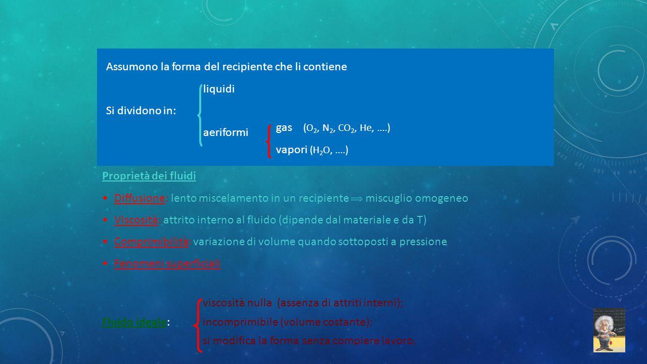 Assumono la forma del recipiente che li contiene liquidi Si dividono in: aeriformi gas (O 2, N 2, CO 2, He,....) vapori (H 2 O,....) Proprietà dei flu