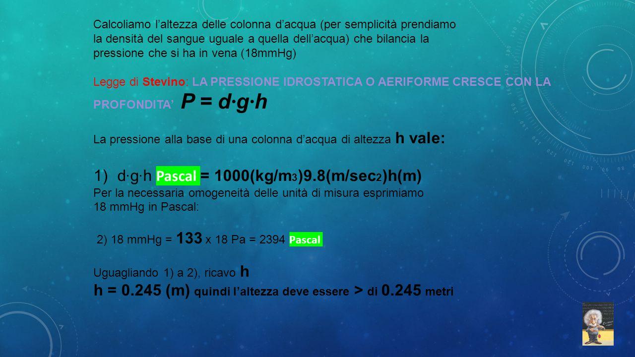Calcoliamo l'altezza delle colonna d'acqua (per semplicità prendiamo la densità del sangue uguale a quella dell'acqua) che bilancia la pressione che s