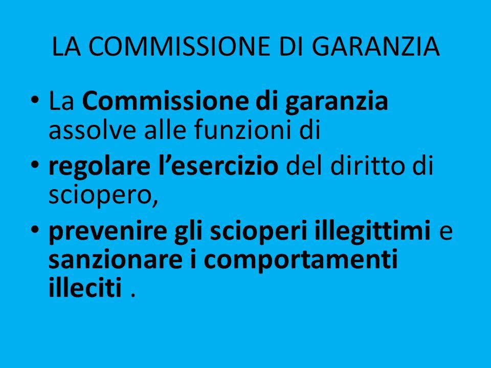 LA COMMISSIONE DI GARANZIA La Commissione di garanzia assolve alle funzioni di regolare l'esercizio del diritto di sciopero, prevenire gli scioperi illegittimi e sanzionare i comportamenti illeciti.