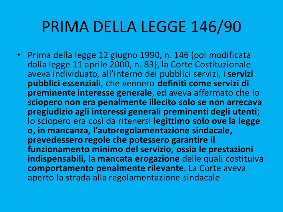 PRIMA DELLA LEGGE 146/90 Prima della legge 12 giugno 1990, n.