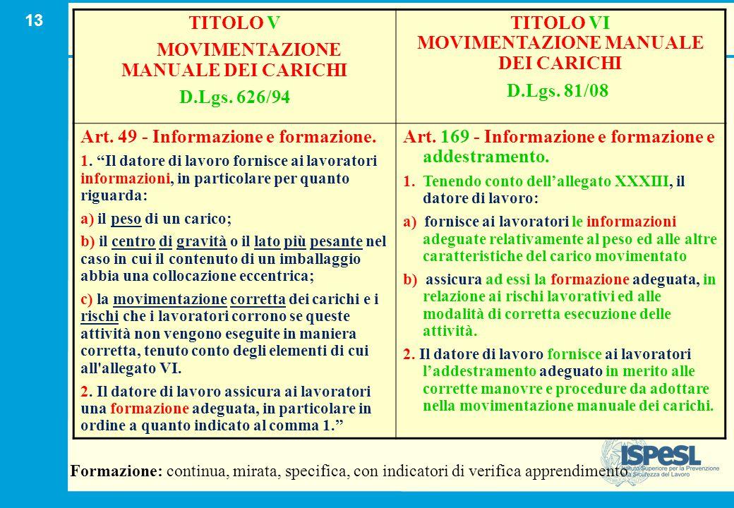 13 TITOLO V MOVIMENTAZIONE MANUALE DEI CARICHI D.Lgs. 626/94 TITOLO VI MOVIMENTAZIONE MANUALE DEI CARICHI D.Lgs. 81/08 Art. 49 - Informazione e formaz
