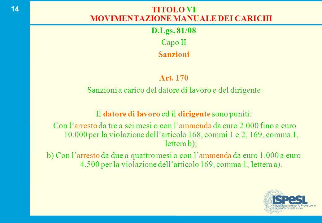 14 TITOLO VI MOVIMENTAZIONE MANUALE DEI CARICHI D.Lgs. 81/08 Capo II Sanzioni Art. 170 Sanzioni a carico del datore di lavoro e del dirigente Il dator
