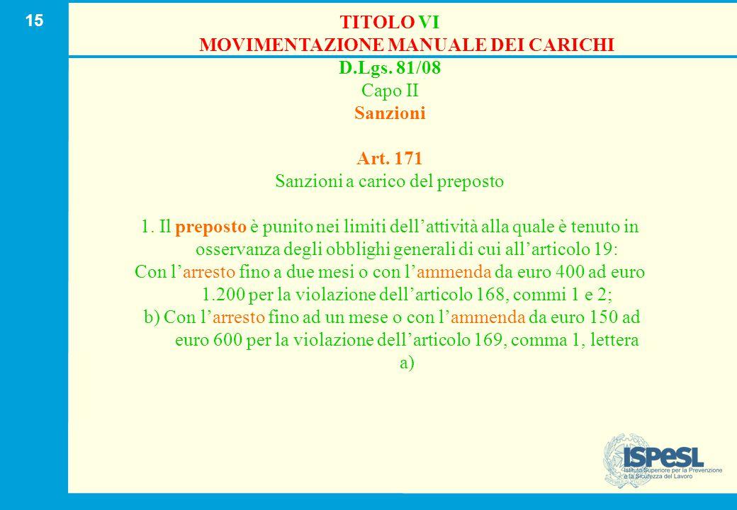 15 TITOLO VI MOVIMENTAZIONE MANUALE DEI CARICHI D.Lgs. 81/08 Capo II Sanzioni Art. 171 Sanzioni a carico del preposto 1. Il preposto è punito nei limi