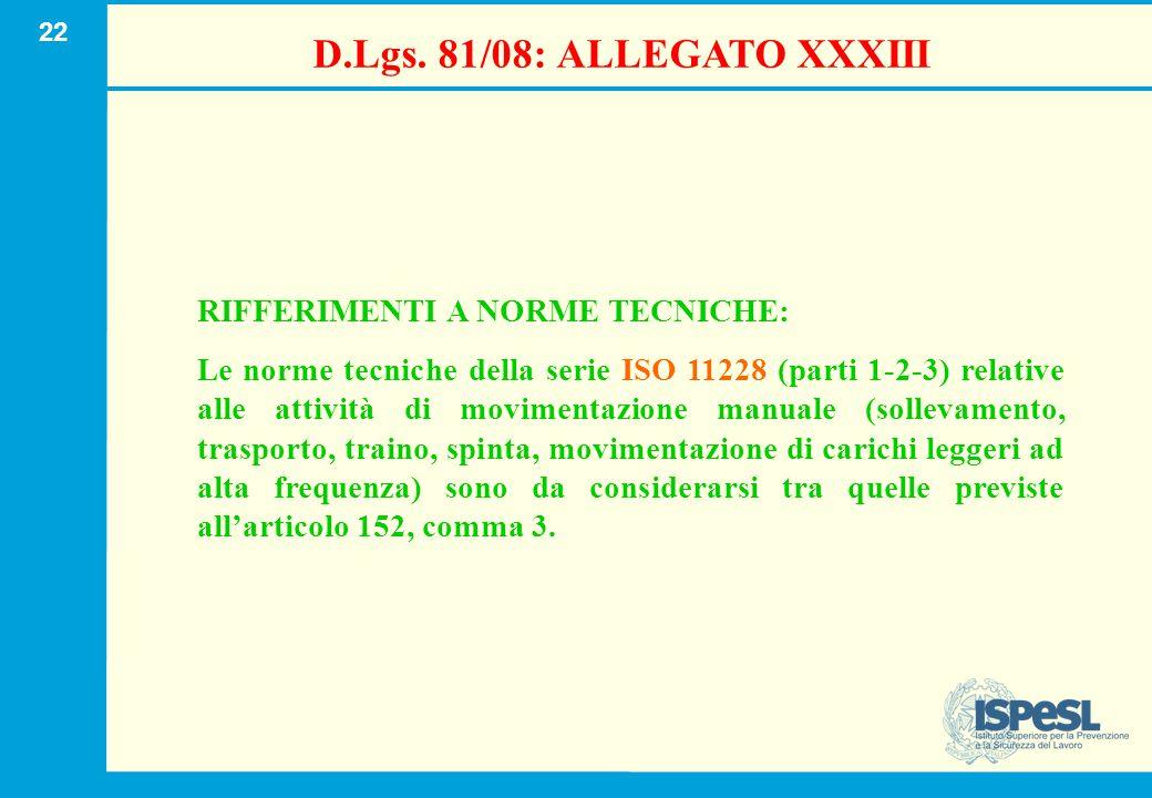 22 D.Lgs. 81/08: ALLEGATO XXXIII RIFFERIMENTI A NORME TECNICHE: Le norme tecniche della serie ISO 11228 (parti 1-2-3) relative alle attività di movime