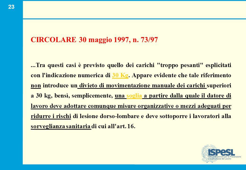 23 CIRCOLARE 30 maggio 1997, n. 73/97...Tra questi casi è previsto quello dei carichi