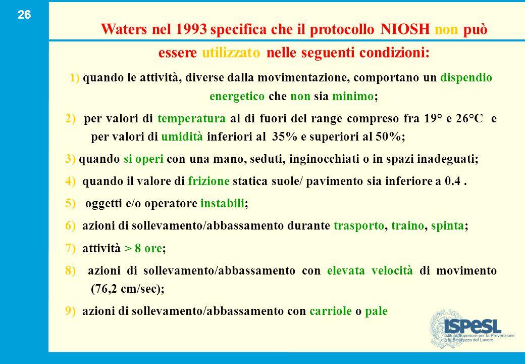 26 Waters nel 1993 specifica che il protocollo NIOSH non può essere utilizzato nelle seguenti condizioni : 1) quando le attività, diverse dalla movime