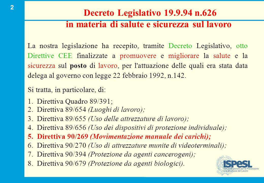 2 Decreto Legislativo 19.9.94 n.626 in materia di salute e sicurezza sul lavoro La nostra legislazione ha recepito, tramite Decreto Legislativo, otto
