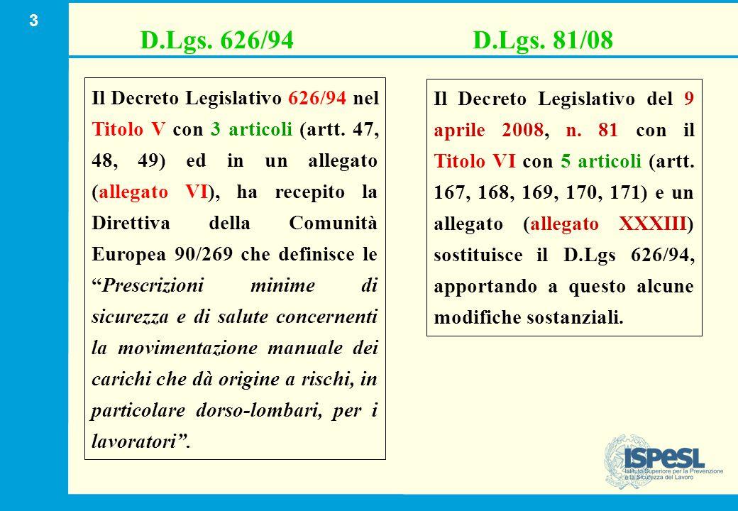 3 Il Decreto Legislativo 626/94 nel Titolo V con 3 articoli (artt. 47, 48, 49) ed in un allegato (allegato VI), ha recepito la Direttiva della Comunit