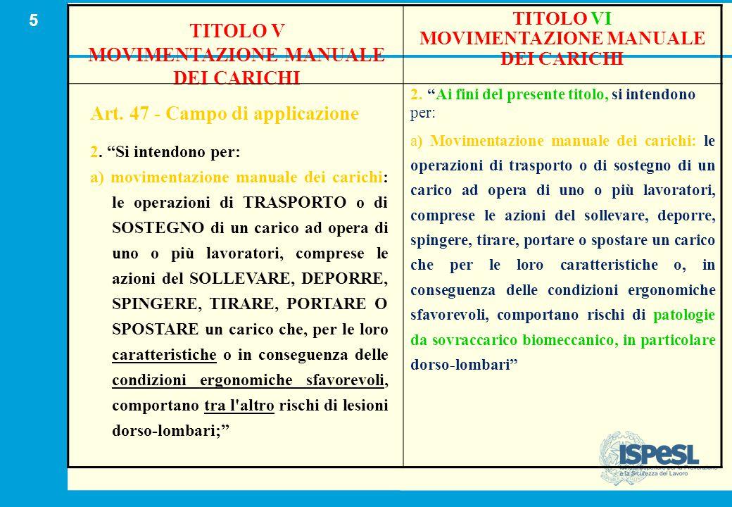 """5 TITOLO V MOVIMENTAZIONE MANUALE DEI CARICHI Art. 47 - Campo di applicazione 2. """"Si intendono per: a) movimentazione manuale dei carichi: le operazio"""