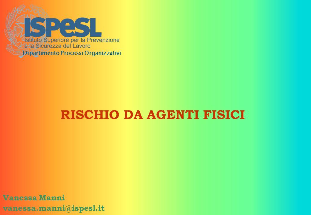 RISCHIO DA AGENTI FISICI Vanessa Manni vanessa.manni@ispesl.it Dipartimento Processi Organizzativi