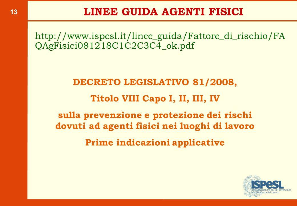 13 LINEE GUIDA AGENTI FISICI http://www.ispesl.it/linee_guida/Fattore_di_rischio/FA QAgFisici081218C1C2C3C4_ok.pdf DECRETO LEGISLATIVO 81/2008, Titolo VIII Capo I, II, III, IV sulla prevenzione e protezione dei rischi dovuti ad agenti fisici nei luoghi di lavoro Prime indicazioni applicative