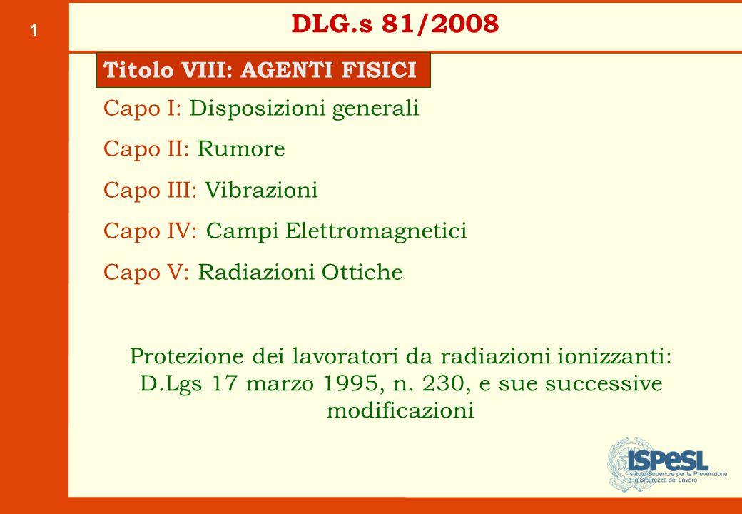1 DLG.s 81/2008 Titolo VIII: AGENTI FISICI Capo I: Disposizioni generali Capo II: Rumore Capo III: Vibrazioni Capo IV: Campi Elettromagnetici Capo V: