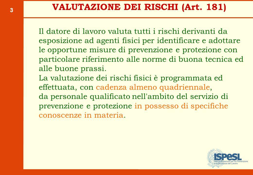 3 VALUTAZIONE DEI RISCHI (Art. 181) Il datore di lavoro valuta tutti i rischi derivanti da esposizione ad agenti fisici per identificare e adottare le