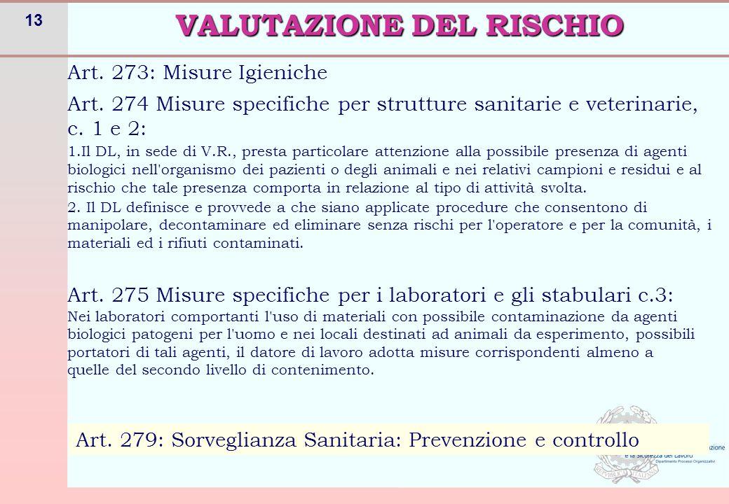 13 Art. 273: Misure Igieniche VALUTAZIONE DEL RISCHIO Art. 275 Misure specifiche per i laboratori e gli stabulari c.3: Nei laboratori comportanti l'us