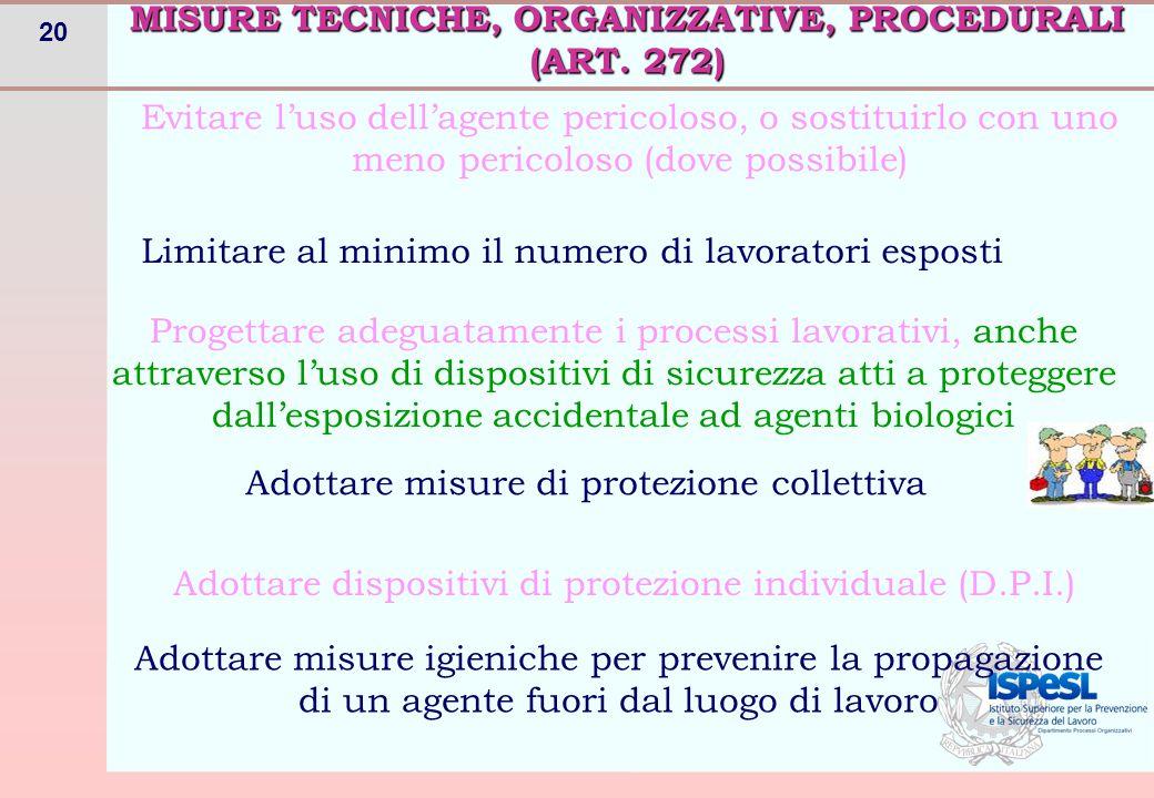 20 MISURE TECNICHE, ORGANIZZATIVE, PROCEDURALI (ART. 272) Evitare l'uso dell'agente pericoloso, o sostituirlo con uno meno pericoloso (dove possibile)