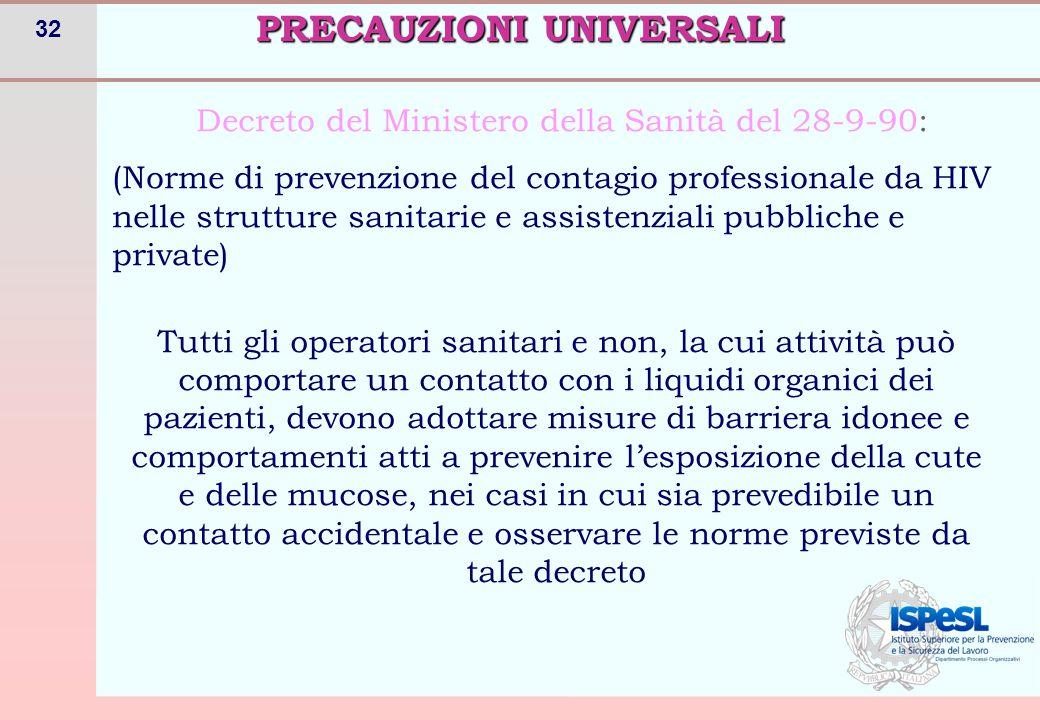 32 PRECAUZIONI UNIVERSALI Decreto del Ministero della Sanità del 28-9-90: (Norme di prevenzione del contagio professionale da HIV nelle strutture sani