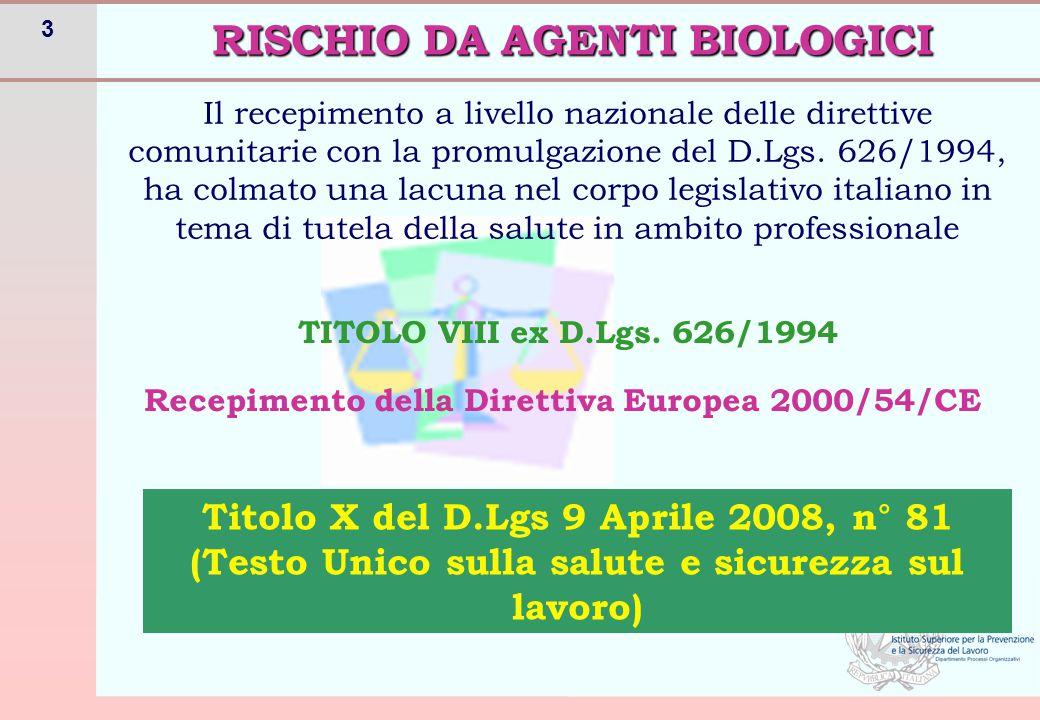 3 RISCHIO DA AGENTI BIOLOGICI Il recepimento a livello nazionale delle direttive comunitarie con la promulgazione del D.Lgs. 626/1994, ha colmato una