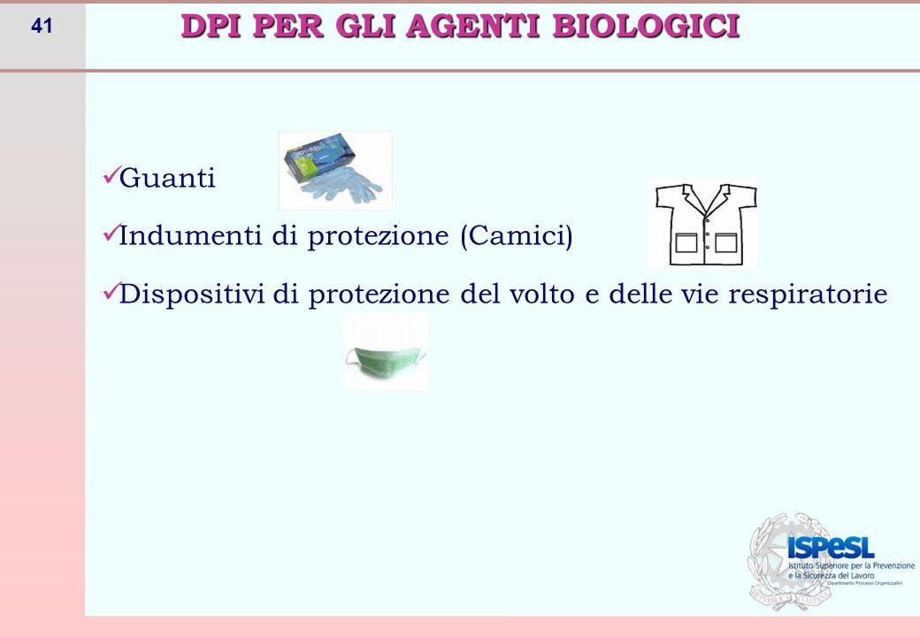 41 Guanti Indumenti di protezione (Camici) Dispositivi di protezione del volto e delle vie respiratorie DPI PER GLI AGENTI BIOLOGICI