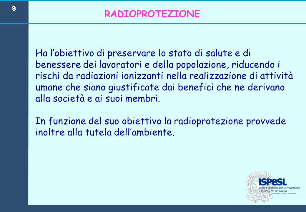 9 Ha l'obiettivo di preservare lo stato di salute e di benessere dei lavoratori e della popolazione, riducendo i rischi da radiazioni ionizzanti nella