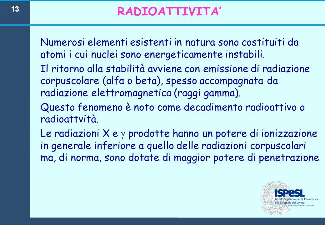 13 RADIOATTIVITA' Numerosi elementi esistenti in natura sono costituiti da atomi i cui nuclei sono energeticamente instabili. Il ritorno alla stabilit