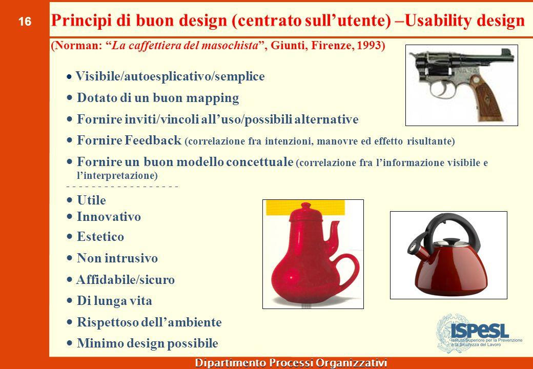 """16 Dipartimento Processi Organizzativi Principi di buon design (centrato sull'utente) –Usability design (Norman: """"La caffettiera del masochista"""", Giun"""
