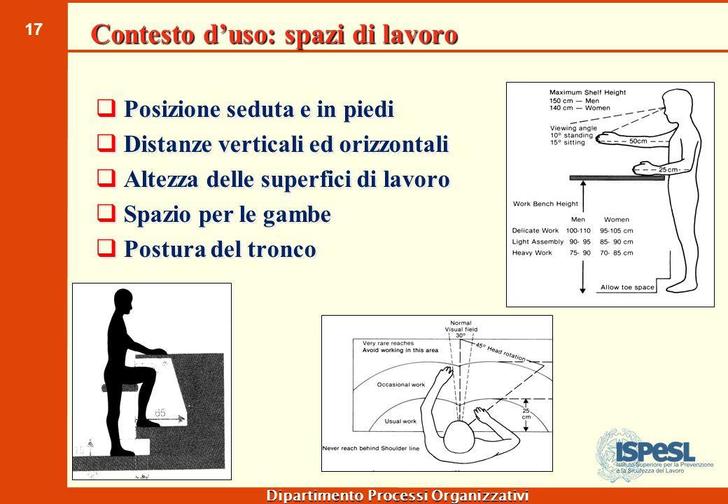 17 Dipartimento Processi Organizzativi Contesto d'uso: spazi di lavoro  Posizione seduta e in piedi  Distanze verticali ed orizzontali  Altezza del
