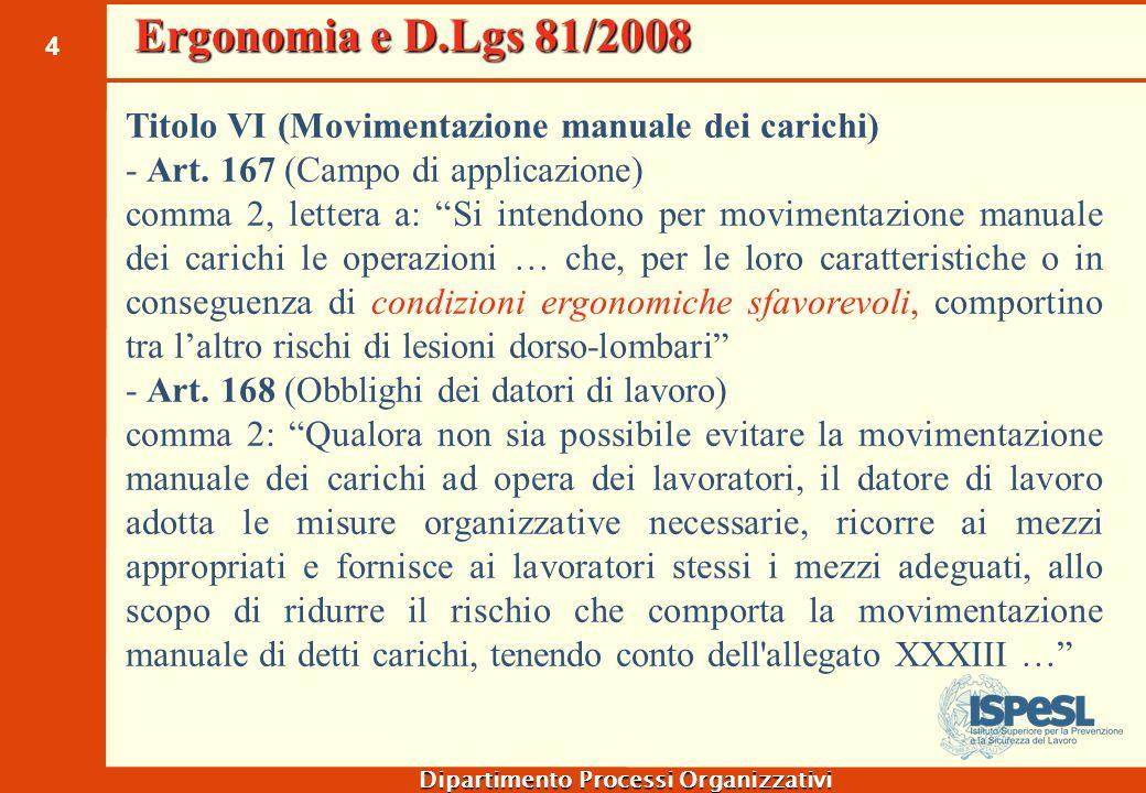 """4 Dipartimento Processi Organizzativi Titolo VI (Movimentazione manuale dei carichi) - Art. 167 (Campo di applicazione) comma 2, lettera a: """"Si intend"""