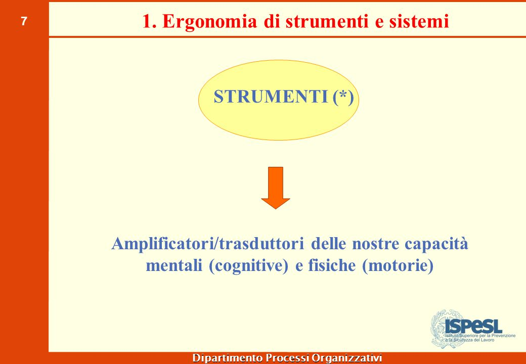 7 Dipartimento Processi Organizzativi 1. Ergonomia di strumenti e sistemi Amplificatori/trasduttori delle nostre capacità mentali (cognitive) e fisich