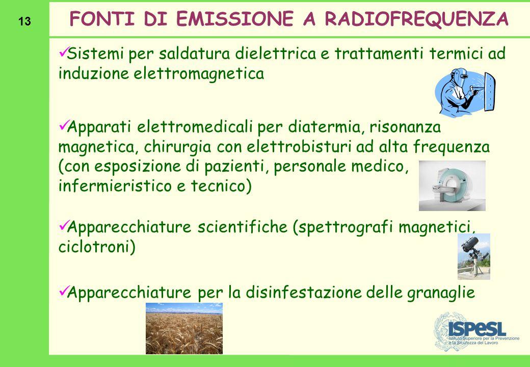 13 Sistemi per saldatura dielettrica e trattamenti termici ad induzione elettromagnetica FONTI DI EMISSIONE A RADIOFREQUENZA Apparati elettromedicali