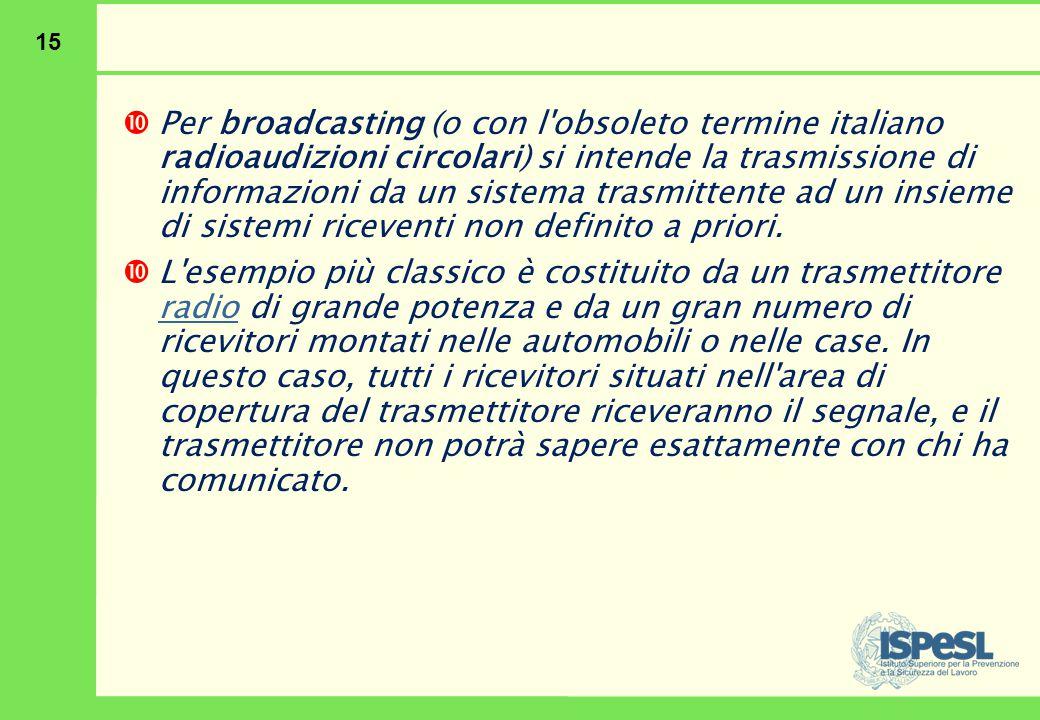 15  Per broadcasting (o con l'obsoleto termine italiano radioaudizioni circolari) si intende la trasmissione di informazioni da un sistema trasmitten