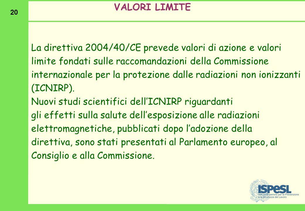 20 VALORI LIMITE La direttiva 2004/40/CE prevede valori di azione e valori limite fondati sulle raccomandazioni della Commissione internazionale per l