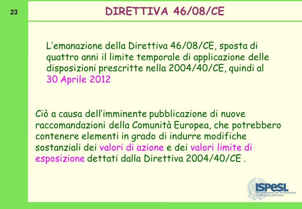 23 DIRETTIVA 46/08/CE Ciò a causa dell'imminente pubblicazione di nuove raccomandazioni della Comunità Europea, che potrebbero contenere elementi in g