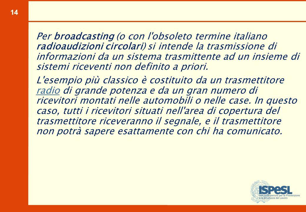 14 Per broadcasting (o con l'obsoleto termine italiano radioaudizioni circolari) si intende la trasmissione di informazioni da un sistema trasmittente