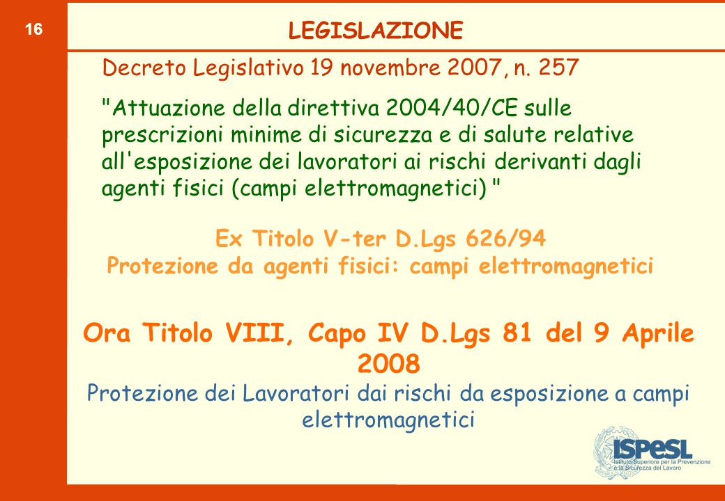 16 Ex Titolo V-ter D.Lgs 626/94 Protezione da agenti fisici: campi elettromagnetici Decreto Legislativo 19 novembre 2007, n. 257