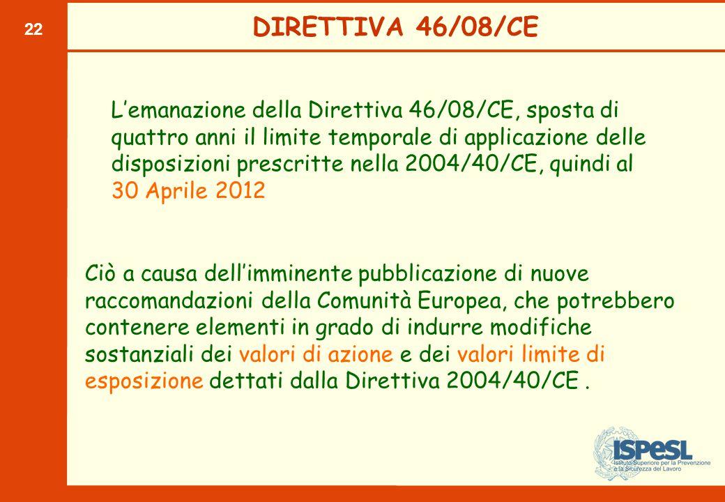 22 DIRETTIVA 46/08/CE Ciò a causa dell'imminente pubblicazione di nuove raccomandazioni della Comunità Europea, che potrebbero contenere elementi in grado di indurre modifiche sostanziali dei valori di azione e dei valori limite di esposizione dettati dalla Direttiva 2004/40/CE.