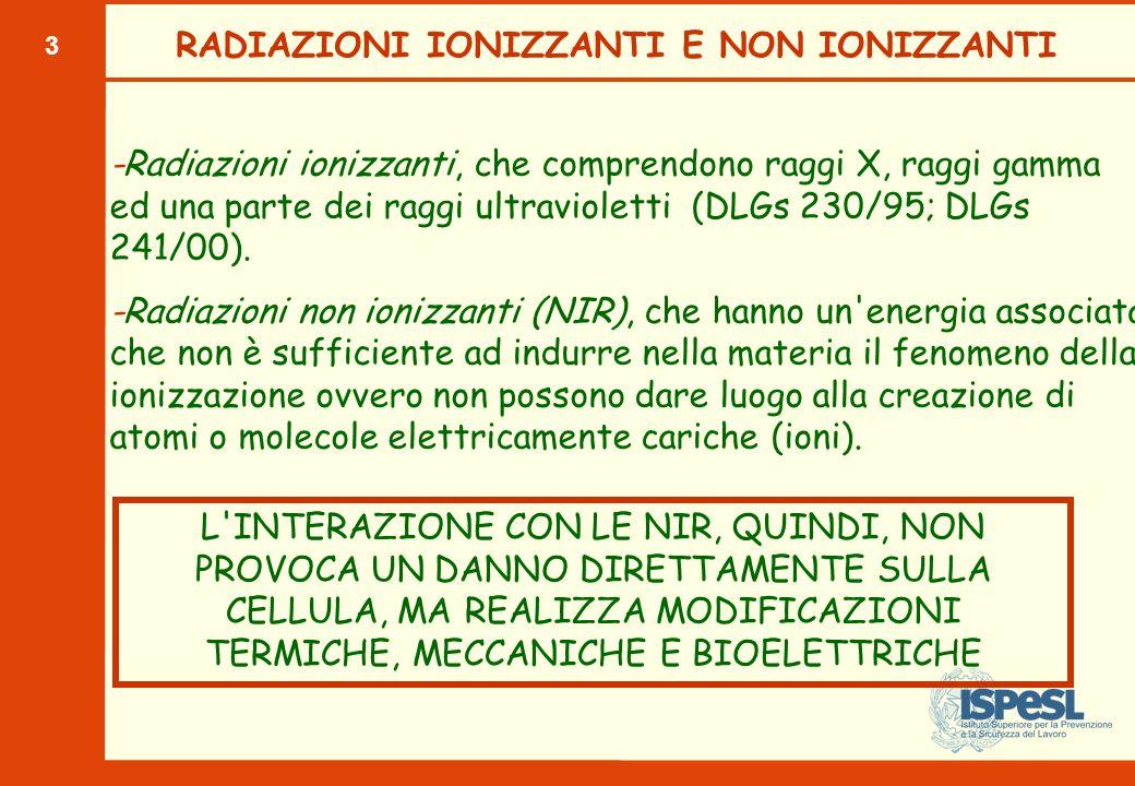 3 RADIAZIONI IONIZZANTI E NON IONIZZANTI -Radiazioni ionizzanti, che comprendono raggi X, raggi gamma ed una parte dei raggi ultravioletti (DLGs 230/95; DLGs 241/00).