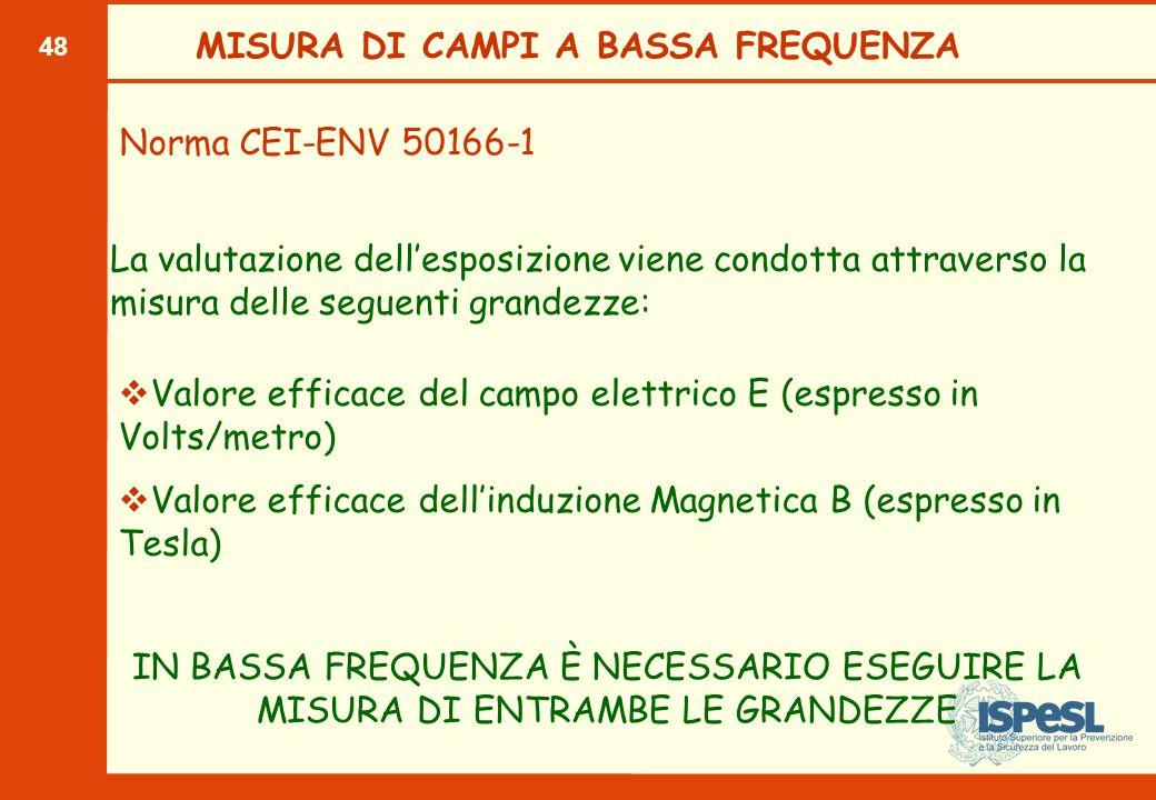 48 MISURA DI CAMPI A BASSA FREQUENZA Norma CEI-ENV 50166-1 La valutazione dell'esposizione viene condotta attraverso la misura delle seguenti grandezz