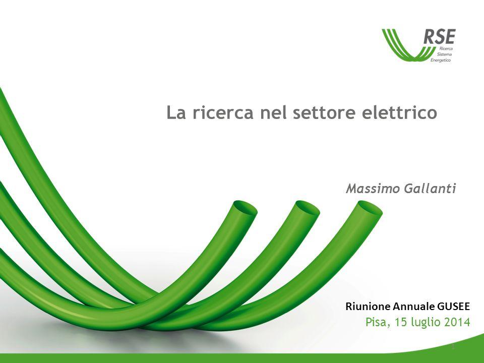 Massimo Gallanti La ricerca nel settore elettrico Riunione Annuale GUSEE Pisa, 15 luglio 2014 1