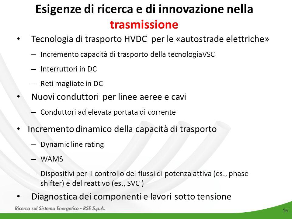 Esigenze di ricerca e di innovazione nella trasmissione 16 Tecnologia di trasporto HVDC per le «autostrade elettriche» – Incremento capacità di traspo