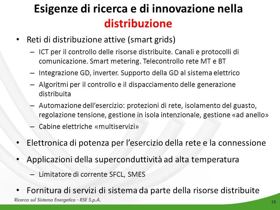 Esigenze di ricerca e di innovazione nella distribuzione 18 Reti di distribuzione attive (smart grids) – ICT per il controllo delle risorse distribuit