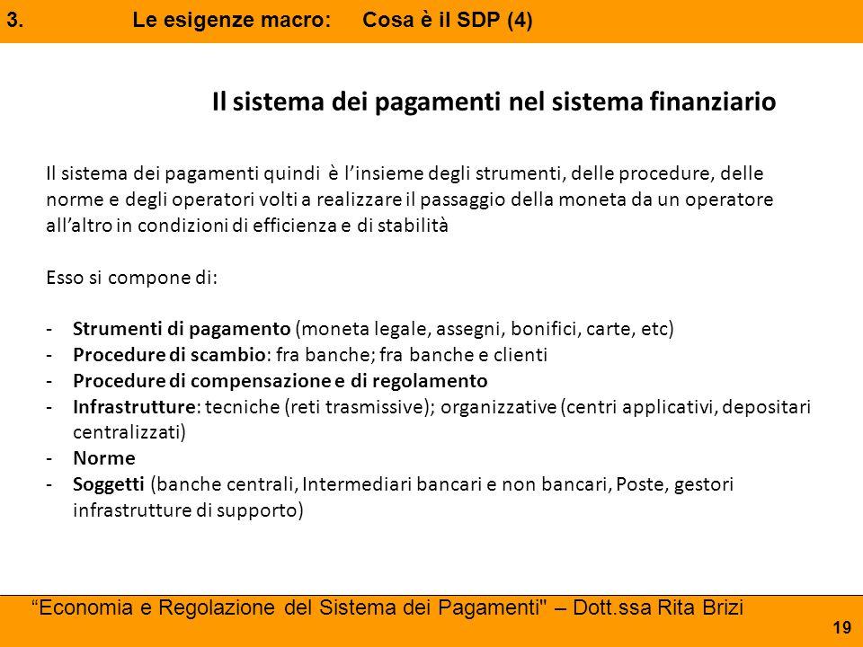 """3. Le esigenze macro: Cosa è il SDP (4) """"Economia e Regolazione del Sistema dei Pagamenti"""
