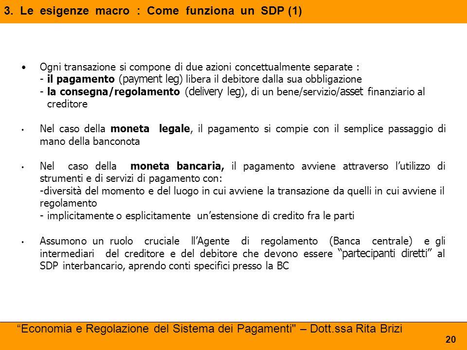 3. Le esigenze macro : Come funziona un SDP (1) 20 Ogni transazione si compone di due azioni concettualmente separate : -il pagamento ( payment leg )