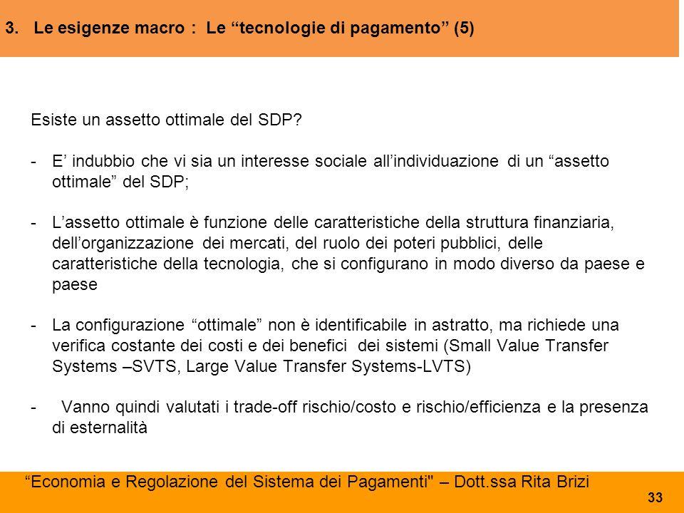 """3. Le esigenze macro : Le """"tecnologie di pagamento"""" (5) Esiste un assetto ottimale del SDP? - E' indubbio che vi sia un interesse sociale all'individu"""
