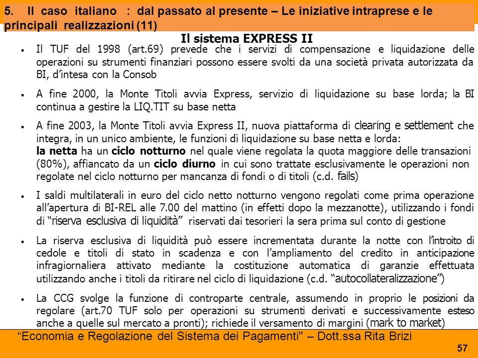 5.Ilcasoitaliano: dal passato al presente – Le iniziative intraprese e le principali realizzazioni (11) Il sistema EXPRESS II Il TUF del 1998 (art.69)